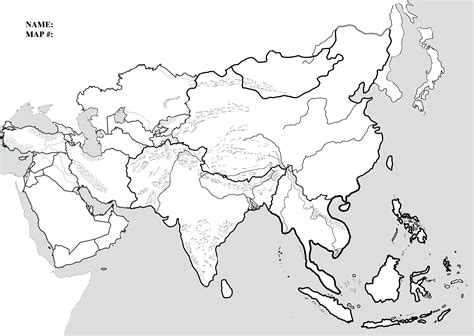 Asia Rivers Outline Map by Blank Map Of Asia Printable For Of Roundtripticket Me