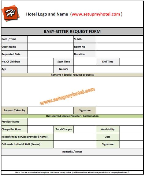 babysitting request form for hotels resorts