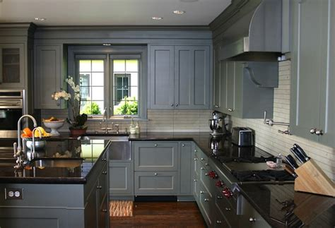 Grey Kitchen Cabinets With Black Countertops by Blue Gray Kitchen Cabinets Design Ideas