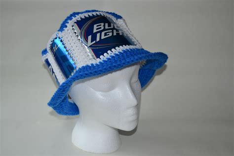 Bud Light Hats Recycled Bud Light Crocheted Beer Can Hat By Cozycans On Etsy