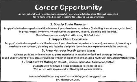 Opportunities For Mba In Logistics by Restaurant Fast Food Chain In Pakistan 2014