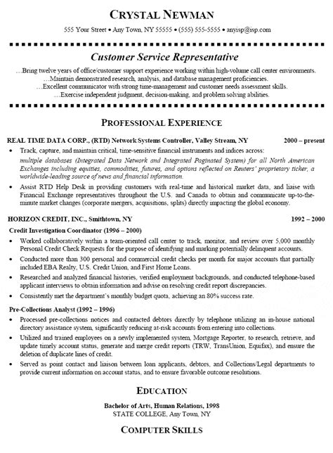 Resume For Entry Level Customer Service Representative customer service representative resume