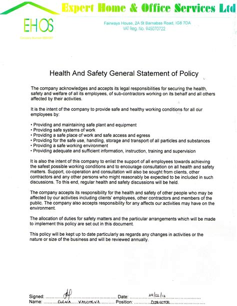 health and safety arrangements template home expert home office services