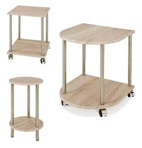 2 tier oak and polished steel side end table with trolley