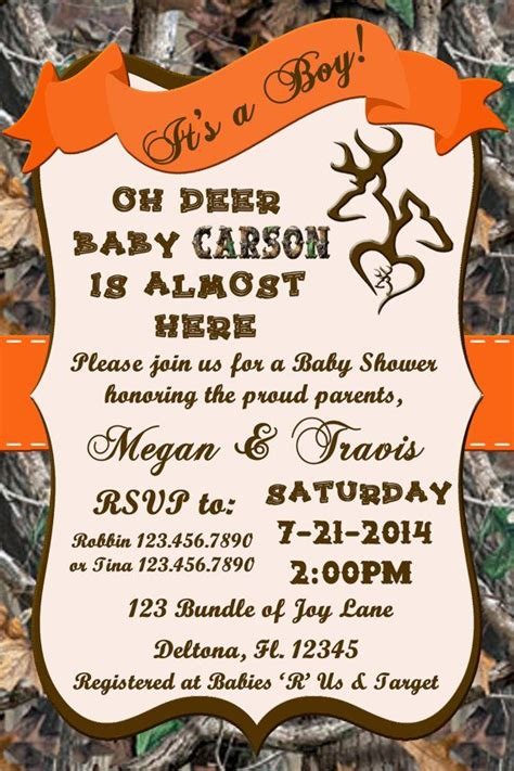 Camo Baby Shower Invitations by Oh Deer Camo Baby Shower Invitation Digital