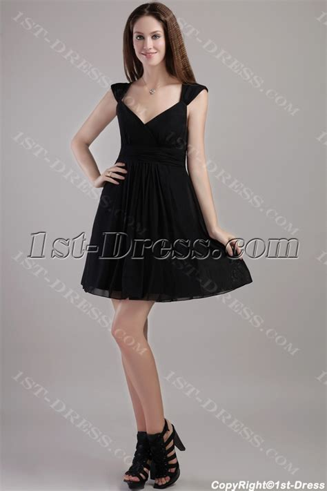 short chiffon  black party dresses  juniors
