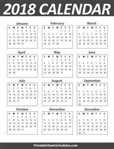 Calendar For 2018 Printable Printable Yearly Calendar Template 2018