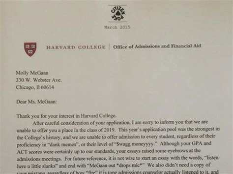 harvard rejection letter high school student s harvard rejection letter goes 1277