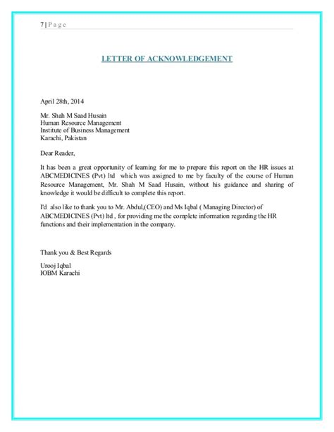 Acknowledgement Letter Sle For Report Sle Acknowledgement Letter For Internship Report 28 Images Sle Acknowledgement Letter For