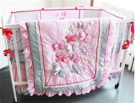 Pink Butterfly Crib Bedding 2014 New 6pcs Embroidered 3d Pink Butterfly Lace Baby Crib Cot Bedding Set 4items Quilt Bumper