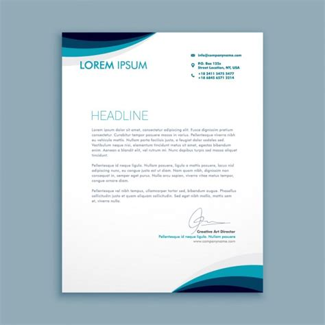 Business Letter Template Ai Business Letter With Waves In Blue Tones Vector Free