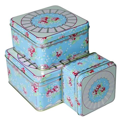 Storage Devices maison blue square english rose biscuit tin set home