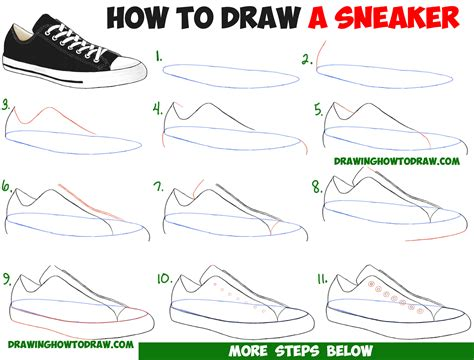 Shoe Drawing Tutorial how to draw sneakers shoes with easy step by step