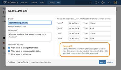 doodle poll plugin polls for confluence atlassian marketplace