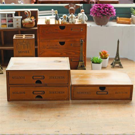 Retro Wooden Box With Drawer Phone Zakka Retro Vintage Office Desktop Wooden Storage Boxes