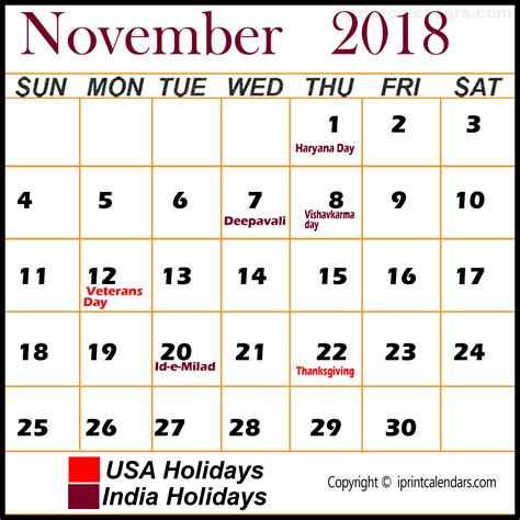 November 2018 Calendar With Holidays Thanksgiving 2018 Images Search