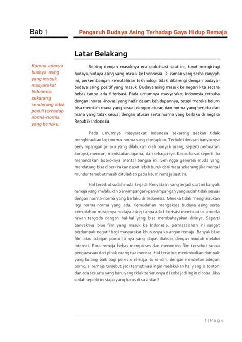 penyebab dan dak negatif pergaulan bebas terhadap remaja b indo ix karya tulis pengaruh budaya asing terhadap