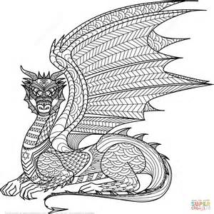 Dragon zentangle coloring page free printable coloring pages