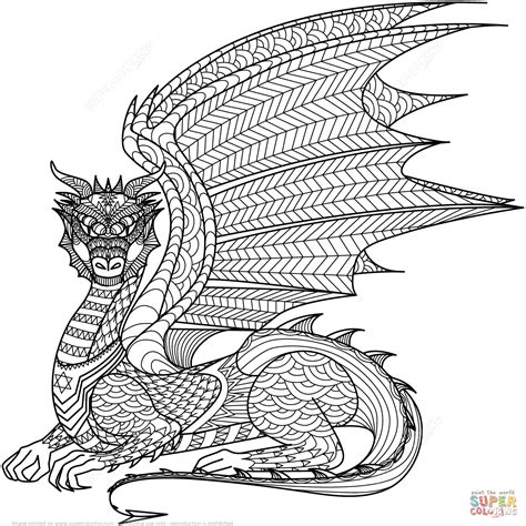 Dragon Zentangle Coloring Page Free Printable Coloring Pages Zentangle Coloring Page