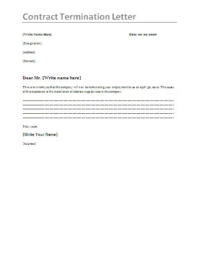 Letter Of Employment Contract Termination Sle Contract Termination Letter Template