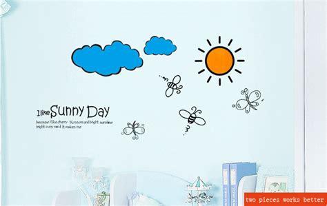 wallpaper sticker awan hari yang cerah matahari bea awan kartun anak anak stiker