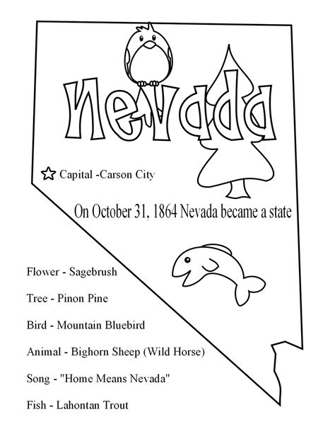 nevada map coloring page us map with state outlines
