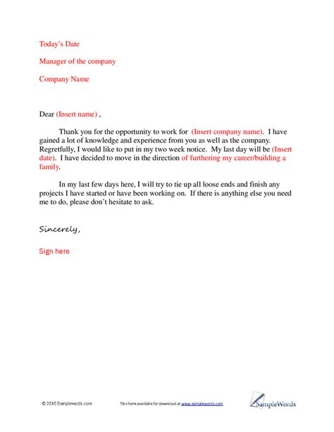 standard resignation letter template basic letter of resignation sle 1 png