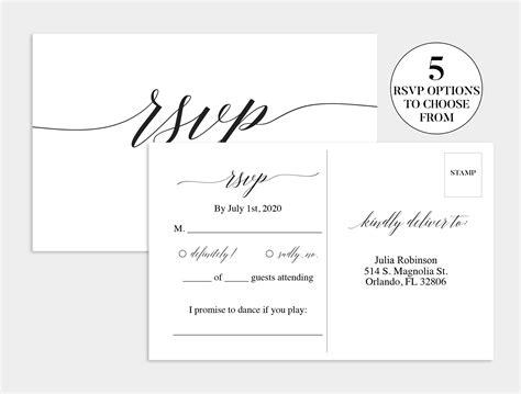 wedding rsvp card wedding rsvp template wedding rsvp postcard printable response card