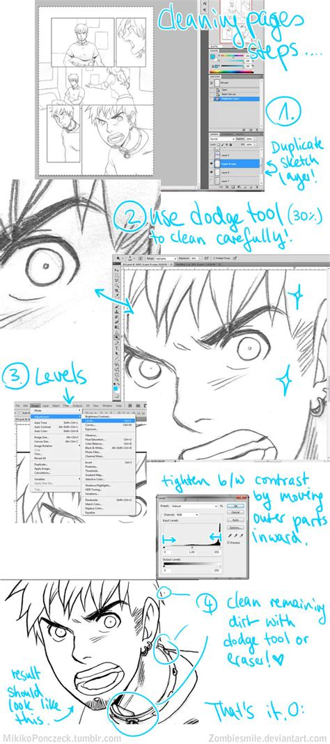 tutorial line art photoshop indonesia sketch to inks tutorial photoshop by zombiesmile on