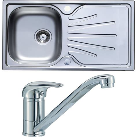 stainless single bowl kitchen sink and single lever tap