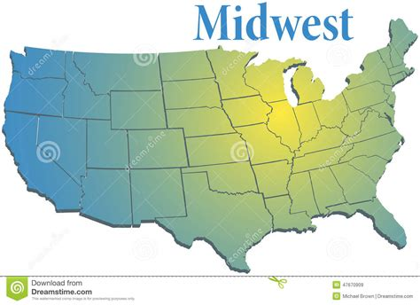 us map midwestern states us states regional midwest map stock vector image 47670909