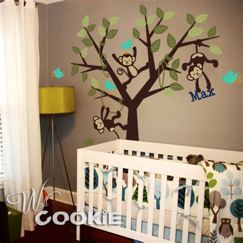 Monkey Wall Decals For Nursery Monkeys Tree With Custom Name Nursery Wall Decal Boys Baby Boy And