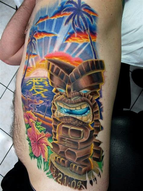 tiki tattoo nyc i love the sunset of this tattoo only palm tree tattoos