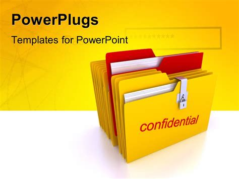 powerpoint template a stack of yellow colored files with
