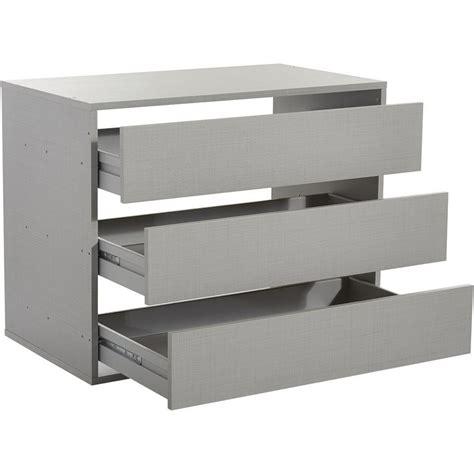 commode 3 tiroirs pour dressing largeur 87 cm gris