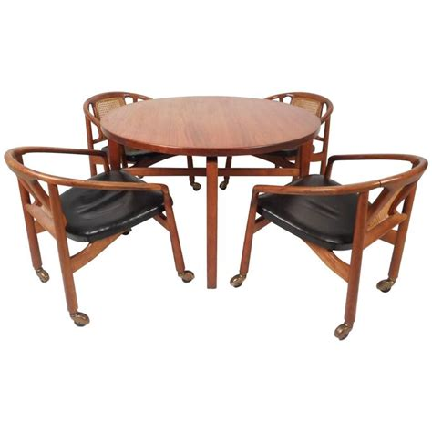 Revolving Dining Table Mid Century Modern Revolving Card Table And Dining Chairs By Jens Risom For Sale At 1stdibs