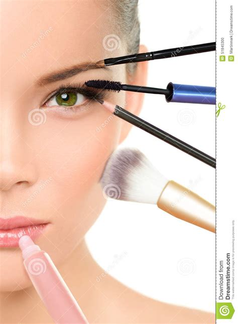Makeover Powder Eye Shadow makeover transformation concept with makeup stock