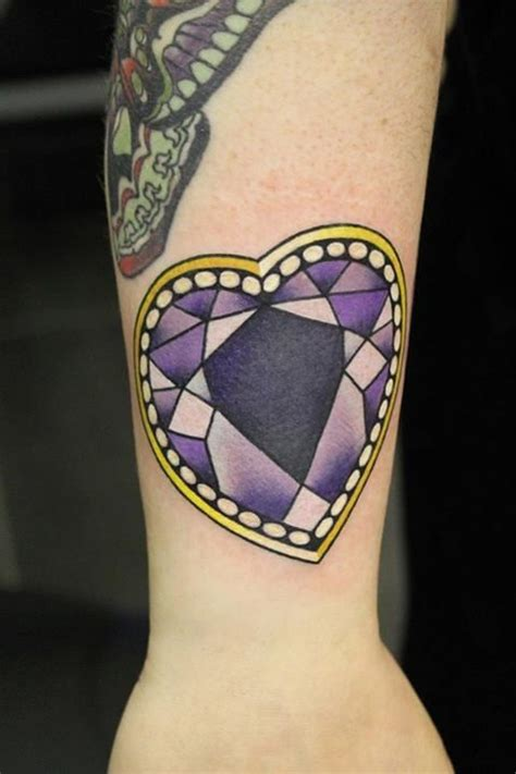diamond tattoo neo traditional purple diamond heart tattoo by phatt german tattoo