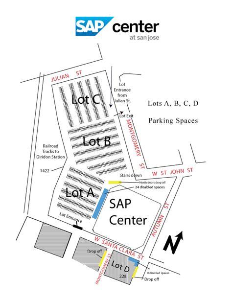 san jose parking map parking pricing and directions sap center