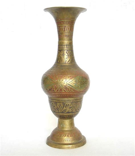 vintage islamic brass engraved vase 21 cm etched etching