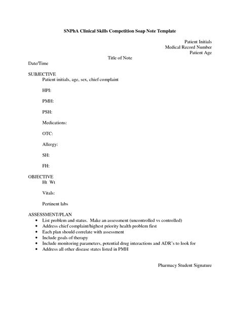 pharmacy soap note template 8 best images of soap note template pdf printable blank