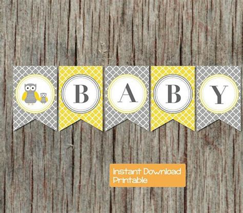 Yellow And Grey Owl Baby Shower by Baby Shower Banner Yellow Grey Owl By Bumpandbeyonddesigns