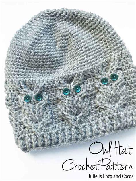 free pattern owl hat owl hat crochet pattern julie measures