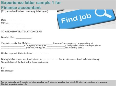 Finance Experience Letter finance accountant experience letter