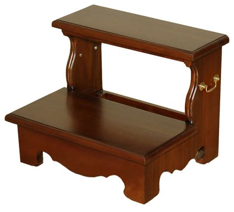 bed step stool solid mahogany 2 step bedside office library step stool with bail pull traditional