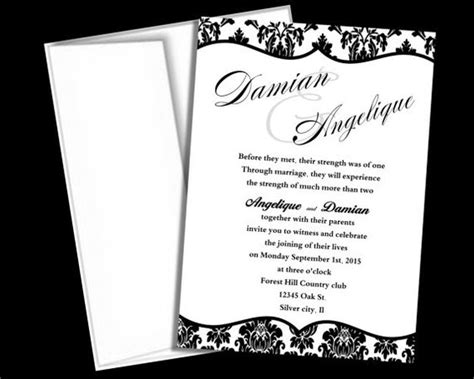 black and white wedding invitations templates wedding invitation template black and white damask blank