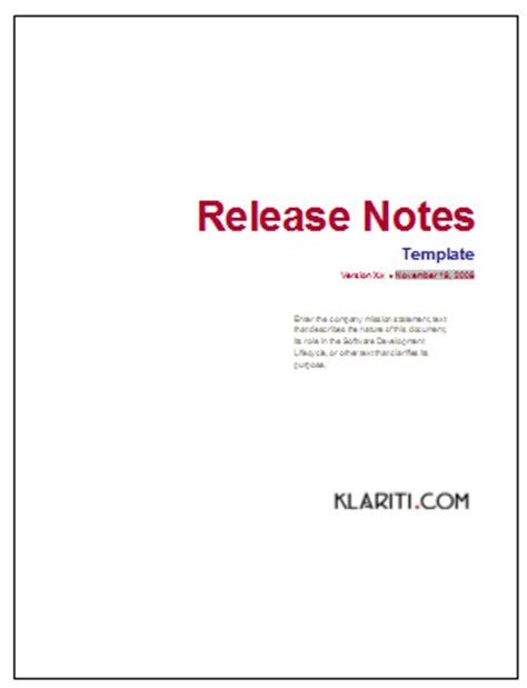 release notes template for software development release notes template instant