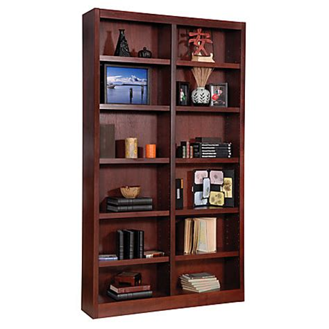 concepts in wood wide bookcase 12 shelves cherry by
