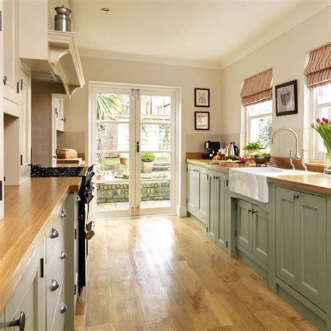 green painted kitchen house style pictures galley kitchen with french doors house n home inside