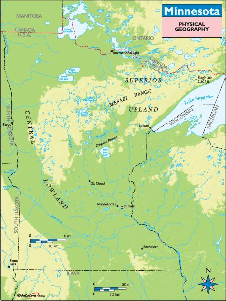 physical map of minnesota minnesota physical geography map by maps from maps